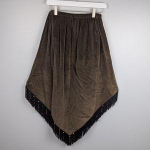 Western Midi Brown Velvet Beaded Skirt size M